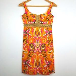 Milly of NY   Vintage Paisley Pink Gold Lace Dress